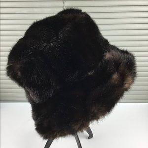 Laplein Black Brown Faux Fur Bucket Hat Quilted